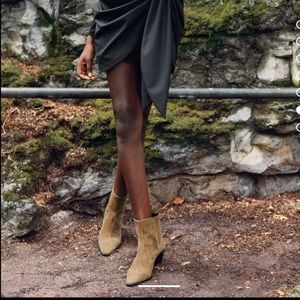 Zara leather cowboy heeled ankle boots